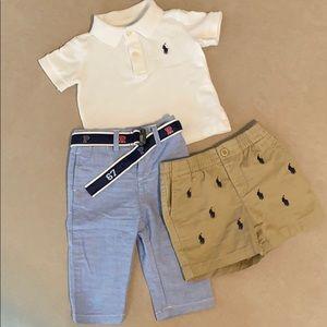 Polo shirt, pants and shorts